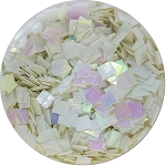 Snow White Iridescent Craft Glitter (Colossal Squares)- 4 oz. Jar