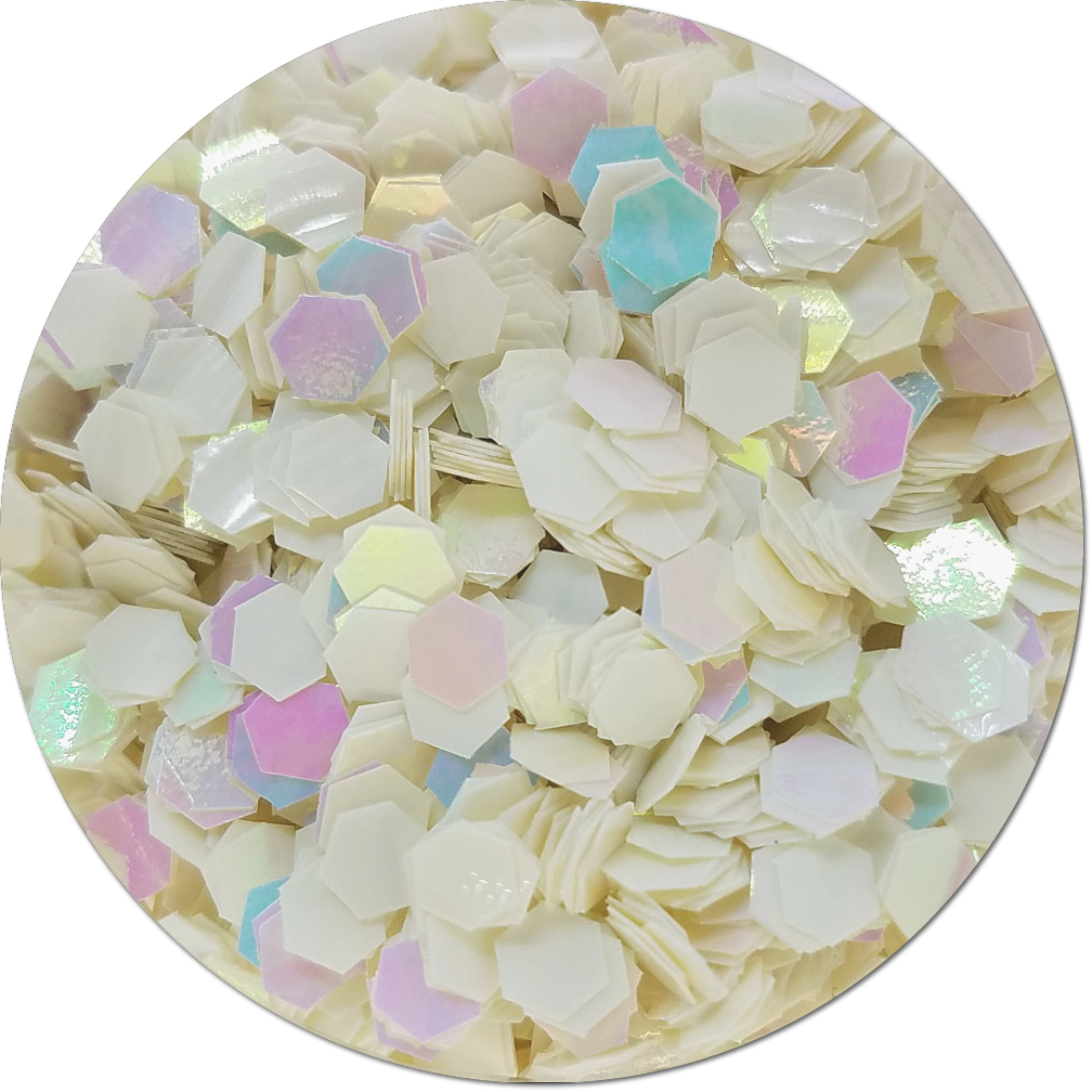 Snow White Iridescent Craft Glitter (Colossal Hex)- By The Pound