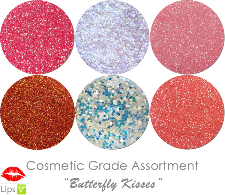 Butterfly Kisses (6 colors for lips): COSMETIC Escape Glitter Asst