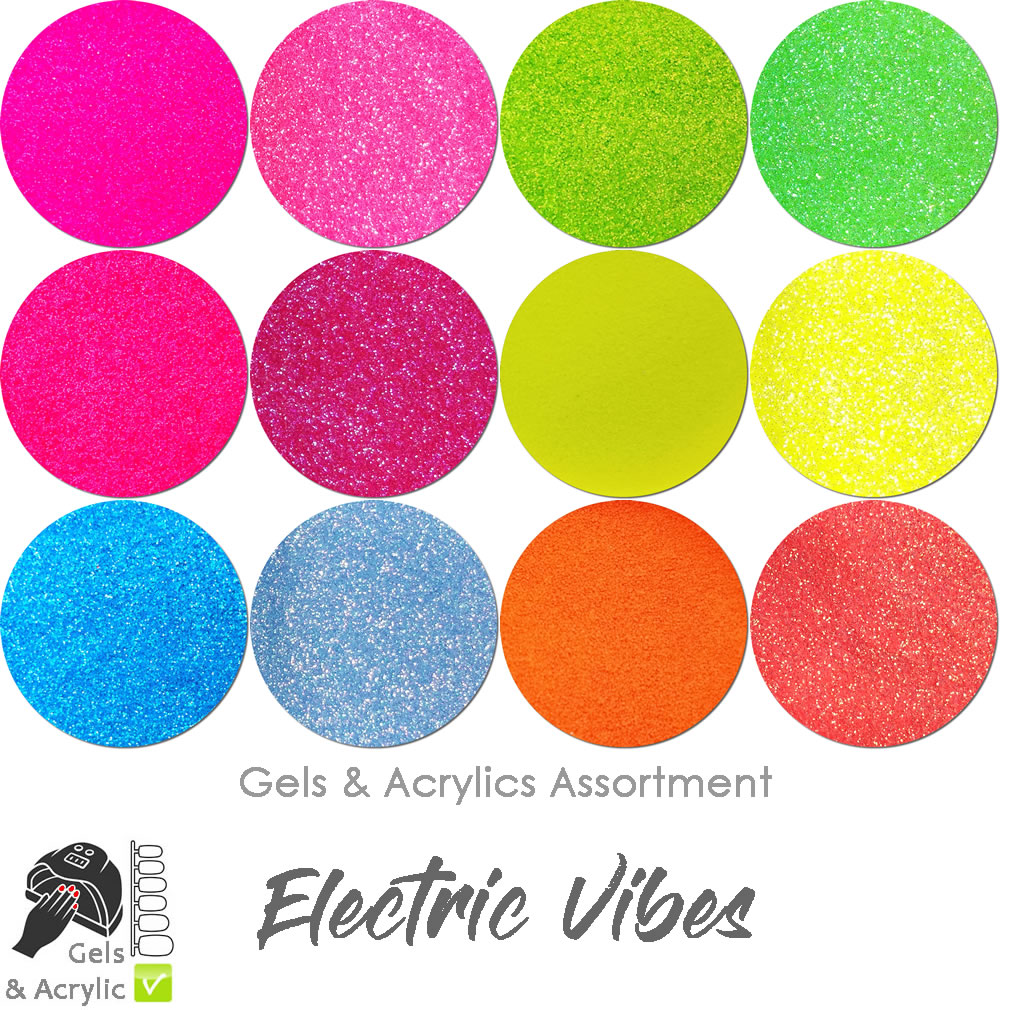 Electric Vibes (12 colors) : Glitter for Nails- Gels/Acrylics
