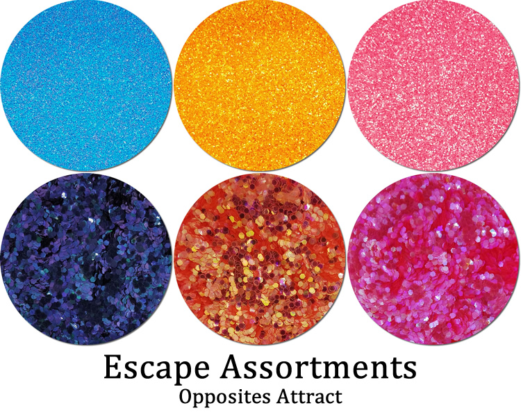 Opposites Attract (6 colors): Escape Glitter Assortment