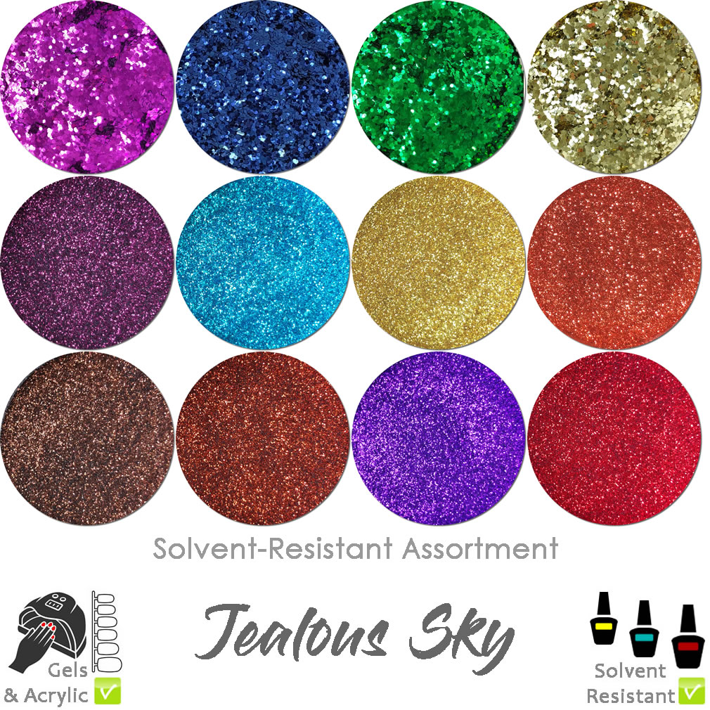 Jealous Sky (12 colors) : Solvent-Resistant Glitter for Nails