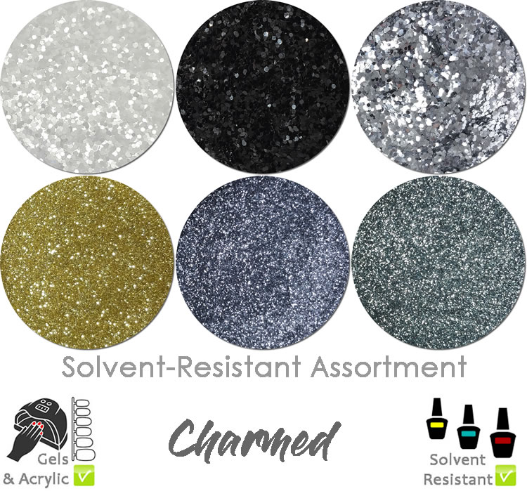 Charmed (6 colors) : Solvent-Resistant Glitter for Nails