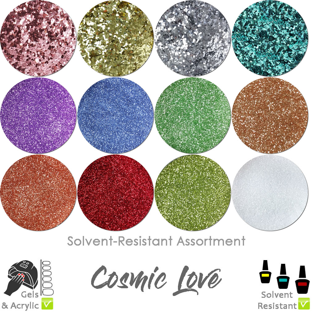 Cosmic Love (12 colors) : Solvent-Resistant Glitter for Nails