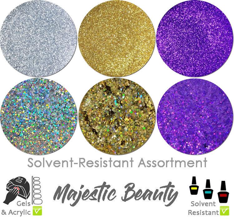 Majestic Beauty (6 colors) : Solvent-Resistant Glitter for Nails