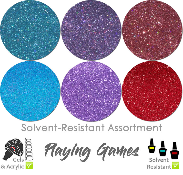 Playing Games (6 colors) : Solvent-Resistant Glitter for Nails