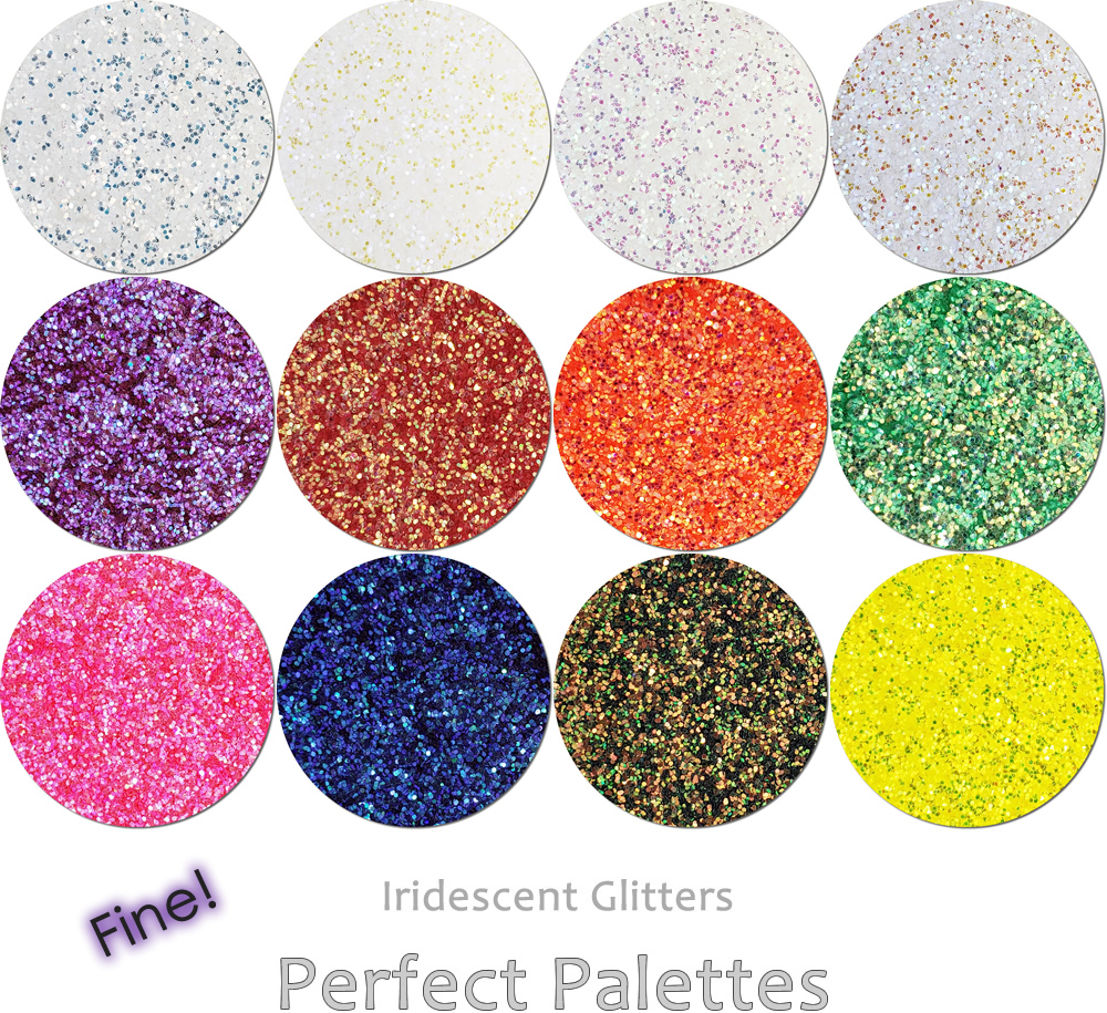 Fine Iridescent (12 colors):Perfect Palette Glitter Assortment