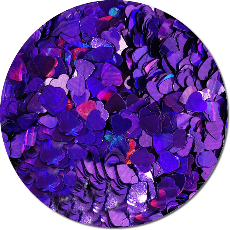 Purple Heart :Holographic Polyester Shaped Glitter (Mini)