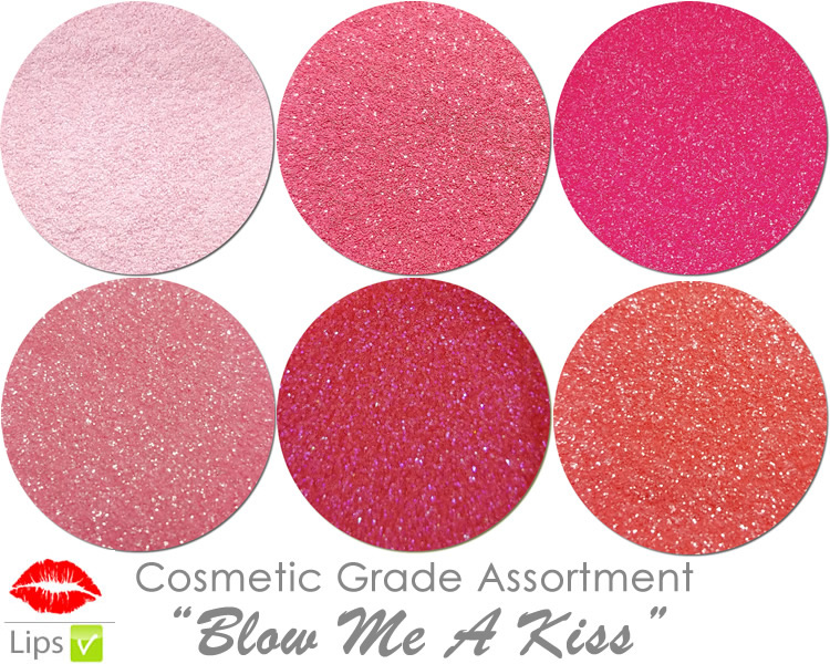 Blow Me A Kiss (6 colors for lips) :COSMETIC Mia Familia Glitter Asst