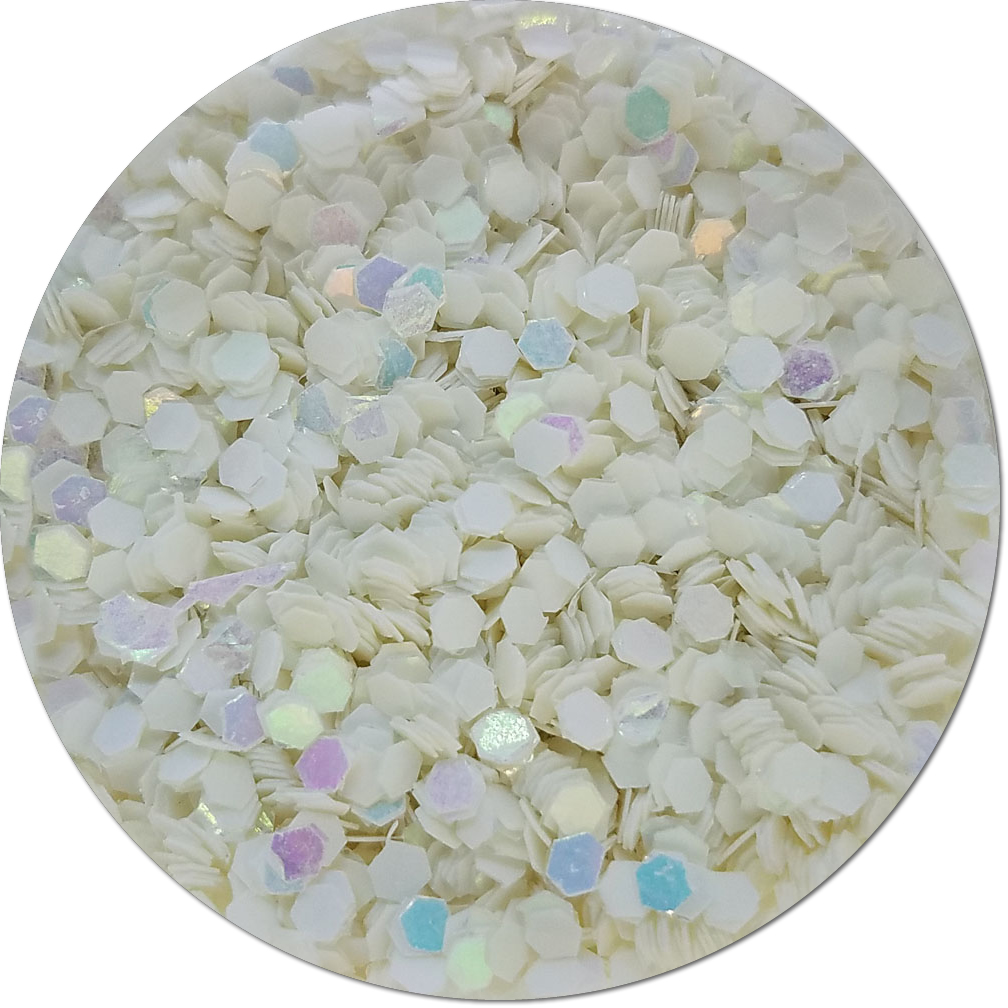 Snow White Iridescent Craft Glitter (Fat flake)- 8 oz. Jar