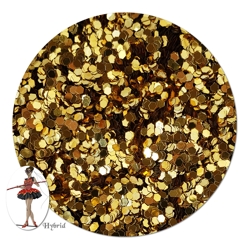 Gold Star Metallic Hybrid Glitter (chunky)- 3/4 oz Jar