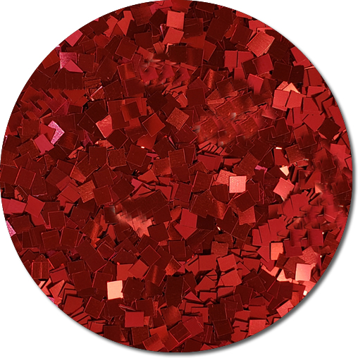 Red Apple Radiance Craft Glitter (Colossal Squares)- 3/4 oz Jar