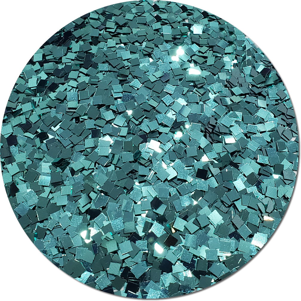 A Tiffany Blue Craft Glitter (Colossal Squares)- 8 oz. Jar