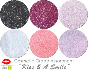 Kiss & A Smile (6 colors for lips) :COSMETIC Mia Familia Glitter Asst
