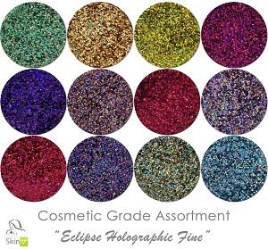 Eclipse Fine (12 colors for skin) :COSMETIC Holographic Glitter Assortment