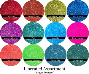 Liberated Glitter Assortment: Bright Bouquet (12 colors)