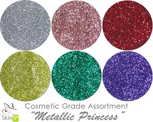COSMETIC Mia Familia Glitter Asst: Metallic Princess (6 colors for skin)